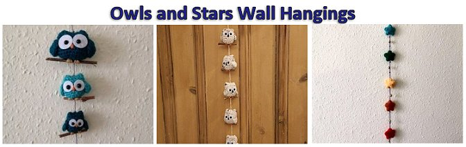 Owls and Stars wall hangings